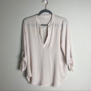 Tan sheer blouse